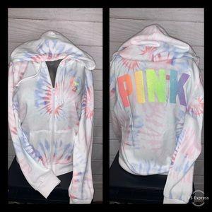 Vs PINK tye dye full zip hoodie